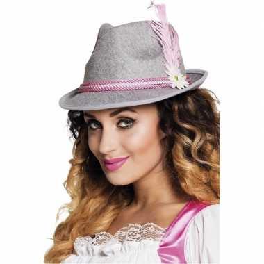 Oktoberfest - grijs met roze tiroler hoedje voor dames