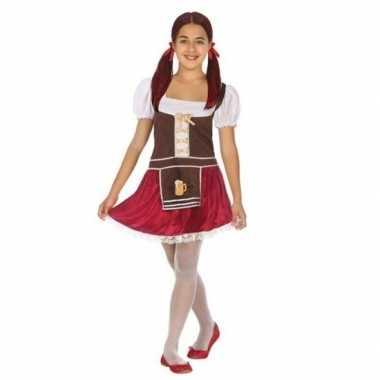 Oktoberfest - tiroler verkleed jurk bruin/rood voor meisjes
