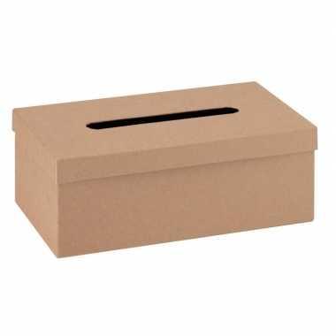 Feest onbewerkte kartonnen tissuebox 25 cm