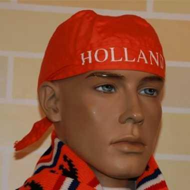 Feest oranje bandana met tekst holland