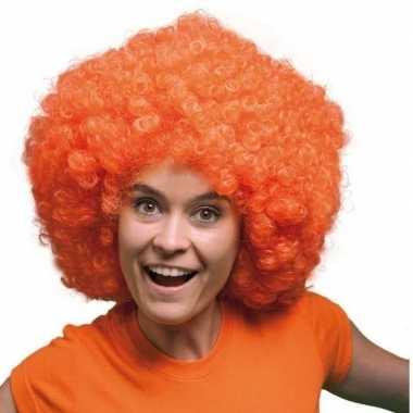 Feest oranje krulletjes pruik mega afro