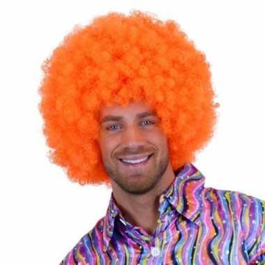 Feest oranje krulletjes pruik neon