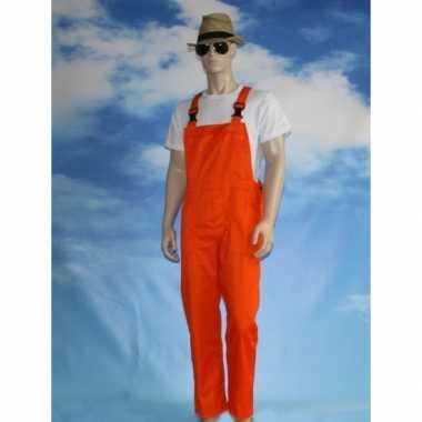 Feest oranje tuinbroek overall voor volwassenen