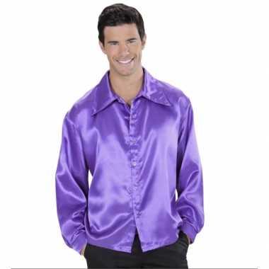 Feest paarse satijnen blouse