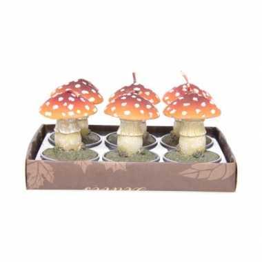 Feest paddenstoel waxinelichtjes 6 stuks