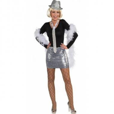 Feest pailletten rok top zilver