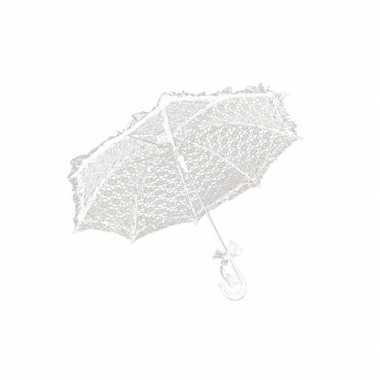 Feest paraplu wit kant 70 cm