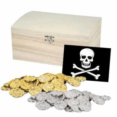 Feest piraten schatkist met munten
