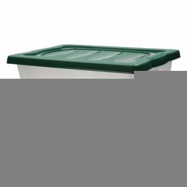 plastic opbergbox met groene deksel | feestwinkel-online.nl