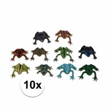 Feest plastic rubber kikker dieren 10 stuks 5 cm