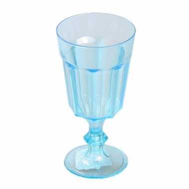 Feest plastic wijnglas blauw 15 cm