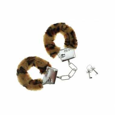 Feest pluche handboeien met luipaard print