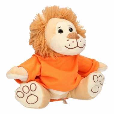 Feest pluche holland leeuw knuffel 30 cm met oranje shirt