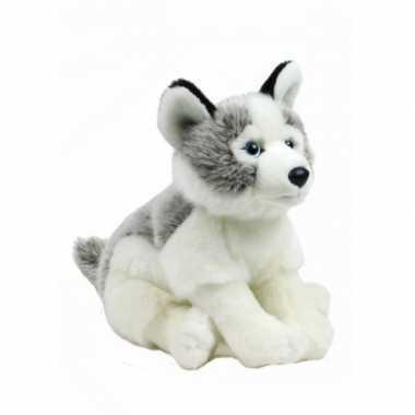 Feest pluche wnf knuffel husky hond 38 cm