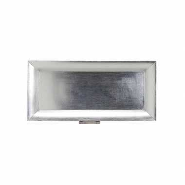 Feest rechthoekig bord zilver 36 x 17 cm