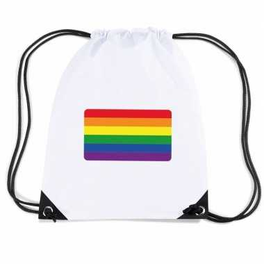Regenboog nylon rugzak wit met regenboog vlag