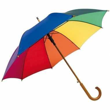 Regenboog paraplu met houten handvat 103 cm