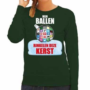 Rinkelende kerstbal sweater / foute kersttrui mijn ballen rinkelen deze kerst groen voor dames