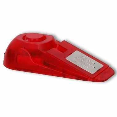 Rode anti inbraak deurstopper/deurwig met alarm en licht