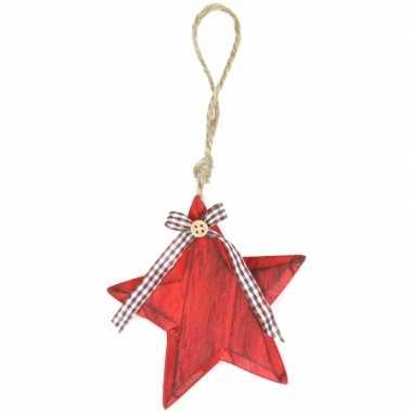 Feest rode houten ster hanger 11 cm
