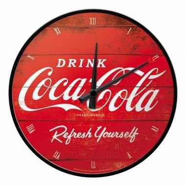 Feest ronde wandklok coca cola
