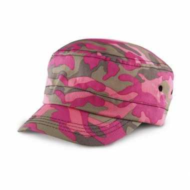 Feest roze camouflage petje