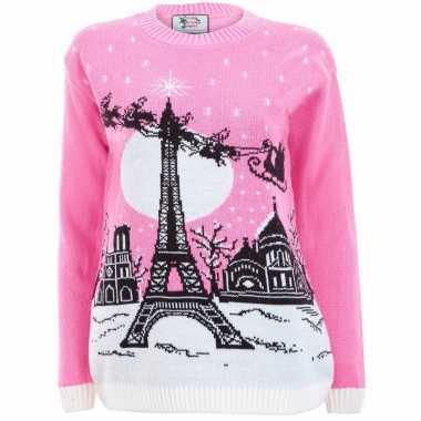 Dames Trui Roze.Roze Foute Print Dames Truien Paris Feestwinkel Online Nl