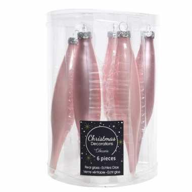 Feest roze kerstballen pegels glas 15 cm