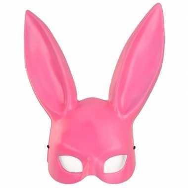 Feest roze konijnen hazen masker voor volwassenen