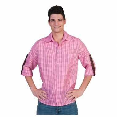Feest roze met wit overhemd met ruitjes