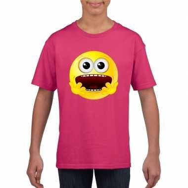 Feest smiley t-shirt geschrokken roze kinderen