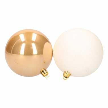 Feest stylish christmas mix kerstballen pakket goud glans en wit glitter 10097685