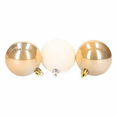Feest stylish christmas mix kerstballen pakket goud glans en wit glitter 10097686