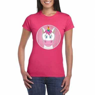 Feest t-shirt eenhoorn roze dames