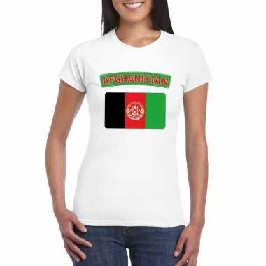 Feest t-shirt met afghaanse vlag wit dames