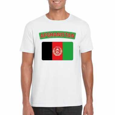 Feest t-shirt met afghaanse vlag wit heren