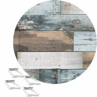 Tafelkleed/tafelzeil blauw hout print 160 cm rond met 4 klemmen