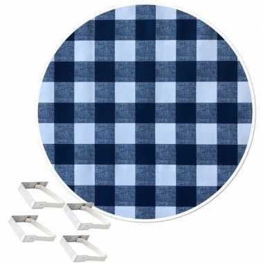 Tafelkleed/tafelzeil boeren ruit blauw 160 cm rond met 4 klemmen