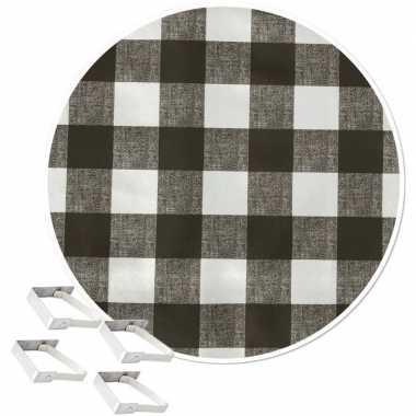 Tafelkleed/tafelzeil boeren ruit grijs 160 cm rond met 4 klemmen