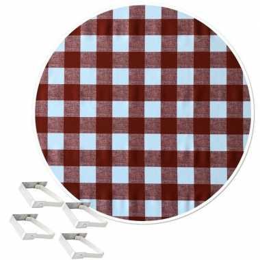 Tafelkleed/tafelzeil boeren ruit rood 160 cm rond met 4 klemmen