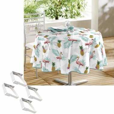 Tafelkleed/tafelzeil flamingo print 160 cm rond met 4 klemmen
