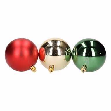 Feest traditional christmas mix kerstballen pakket groen glans en rood mat 10096925