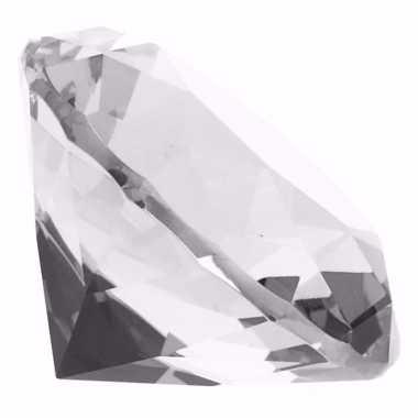 Transparante nep diamant 8 cm van glas