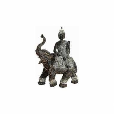 Feest tuin beeld boeddha met olifant 29 cm