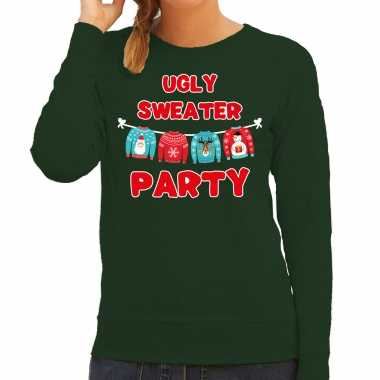Ugly sweater party kerstsweater / outfit groen voor dames