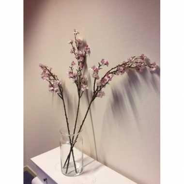 Feest vaas met 3 roze appelbloesem kunstbloemen takken 104 cm