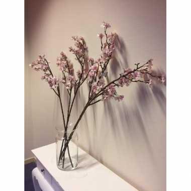 Feest vaas met 5 roze appelbloesem kunstbloemen takken 104 cm