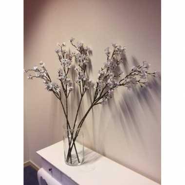 Feest vaas met 5 witte appelbloesem kunstbloemen takken 104 cm