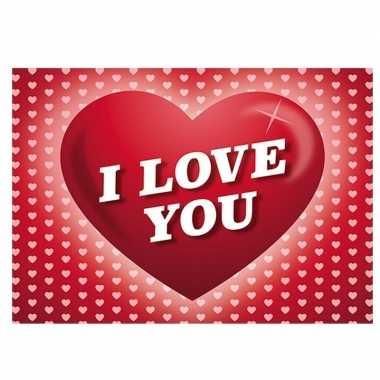 Valentijn - romantische valentijnskaart i love you ansichtkaart met h