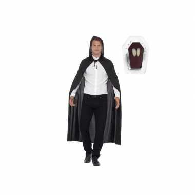 Feest vampier cape zwart inclusief hoektanden voor volwassenen